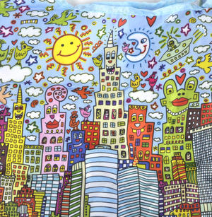 James Rizzi New York City - Bag in a Bag - Foldaway Zipper Shopper Bag Thumbnail 7