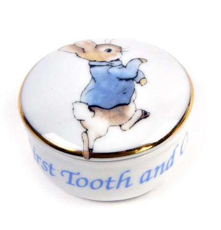 Beatrix Potter Peter Rabbit First Tooth and Curl Round Box
