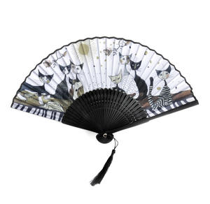 Rosina Wachtmeister Hand Fan - Gold, Black and White Cat Family