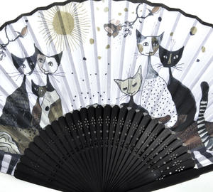 Rosina Wachtmeister Hand Fan - Gold, Black and White Cat Family Thumbnail 2