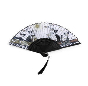 Rosina Wachtmeister Hand Fan - Gold, Black and White Cat Family Thumbnail 5