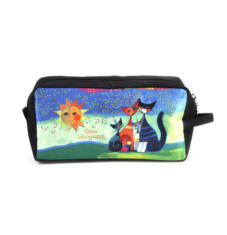 Rosina Wachtmeister Washbag / Cosmetics / Toiletry Bag - Momenti di felicita / Moments of Happiness - Cat Family
