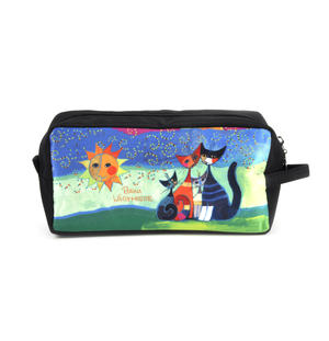 Rosina Wachtmeister Washbag / Cosmetics / Toiletry Bag - Momenti di felicita / Moments of Happiness - Cat Family Thumbnail 1