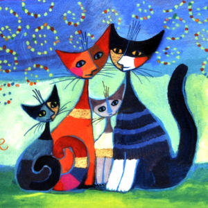 Rosina Wachtmeister Washbag / Cosmetics / Toiletry Bag - Momenti di felicita / Moments of Happiness - Cat Family Thumbnail 2