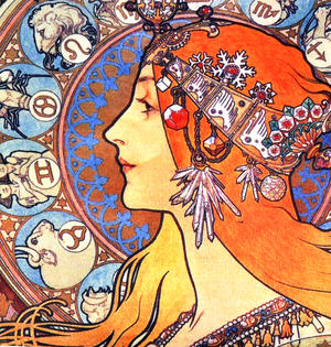 Art Nouveau - Large Zipper Bag - Alphonse Mucha - Zodiac Thumbnail 2
