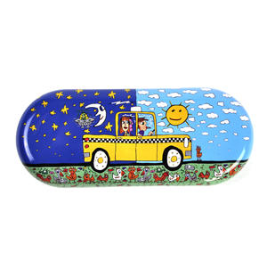James Rizzi- Taxi and Some Pigeons - Glasses Case Thumbnail 1