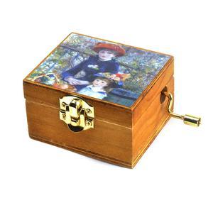 Wooden Mini Music Box - Art & Music - Renoir - Two Sisters on the Terrace & Strauss - Kaiserwaltzer Thumbnail 1