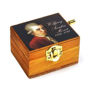 Wooden Mini Music Box - Art & Music - Mozart Portrait - Eine Kleine Nachtmusik / Night Music