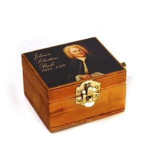 Wooden Mini Music Box - Art & Music - Johann Sebastian Bach Portrait - Minuette in G Major