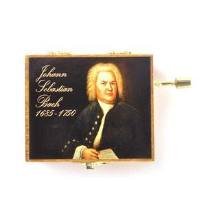 Wooden Mini Music Box - Art & Music - Johann Sebastian Bach Portrait - Minuette in G Major Thumbnail 2
