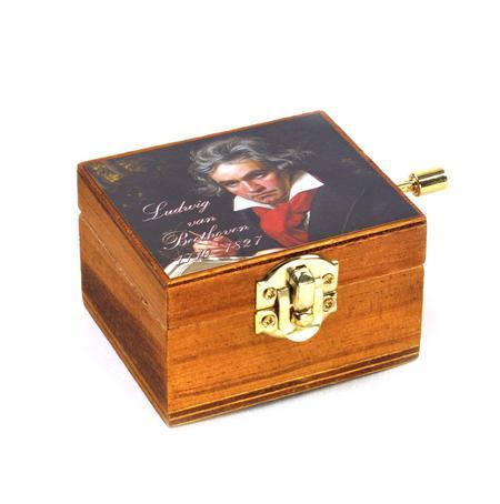 Wooden Mini Music Box - Art & Music - Ludwig van Beethoven   Portrait - Ode to Joy