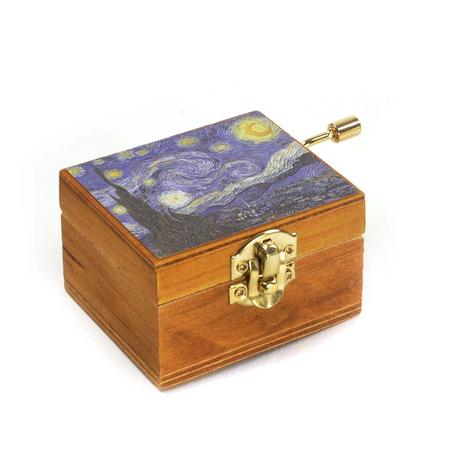 Wooden Mini Music Box - Art & Music - Van Gogh Starry Night - Debussy Clair de Lune
