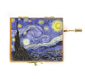 Wooden Mini Music Box - Art & Music - Van Gogh Starry Night - Debussy Clair de Lune Thumbnail 2