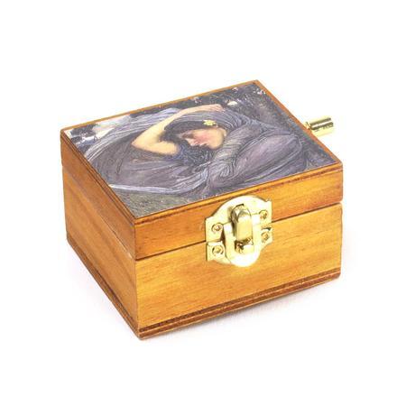 Wooden Mini Music Box - Art & Music - My Lady Greensleeves with Boreas by John William Waterhouse Pre-Raphaelite