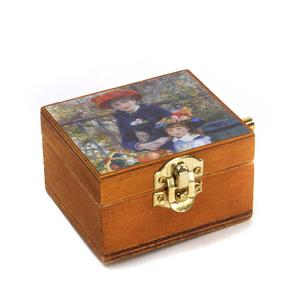 Wooden Mini Music Box - Art & Music - Renoir - Two Sisters on the Terrace & Beethoven 'Fur Elise'