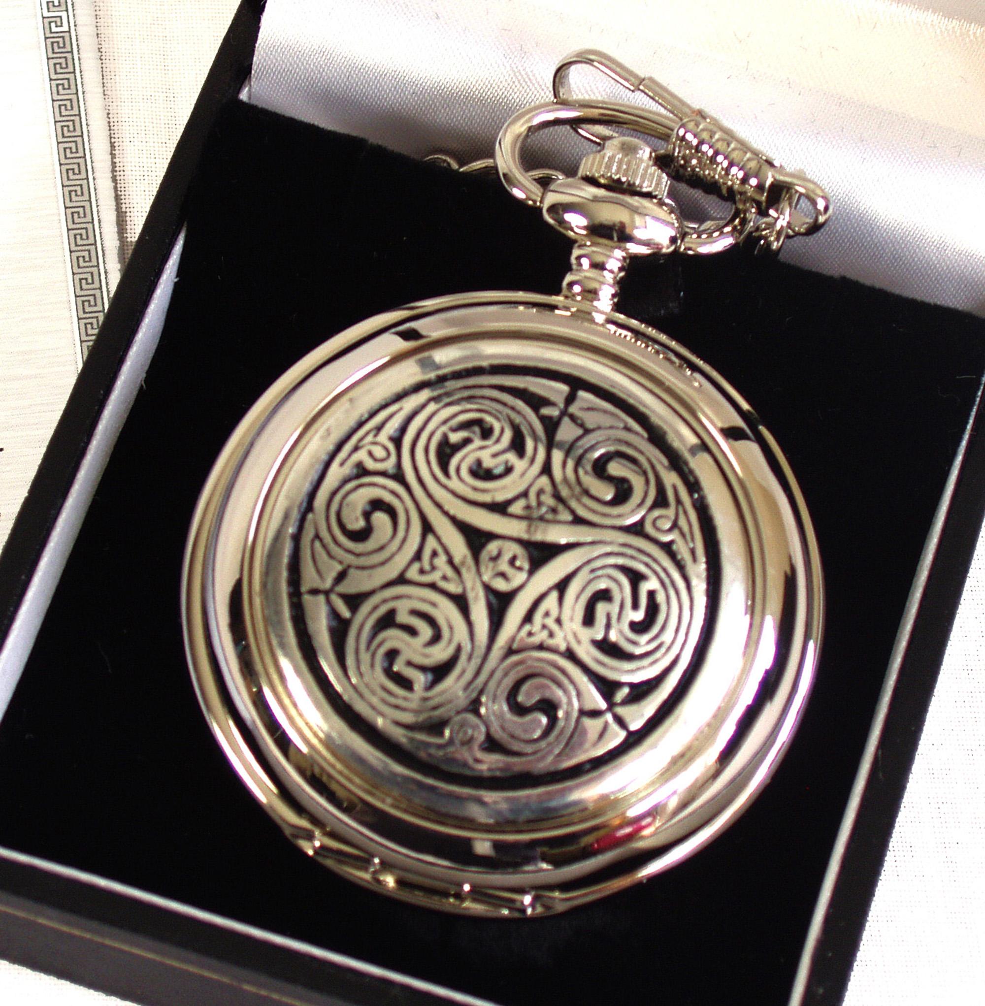 Celtic Triple Swirl Pocket Watch Pink Cat Shop