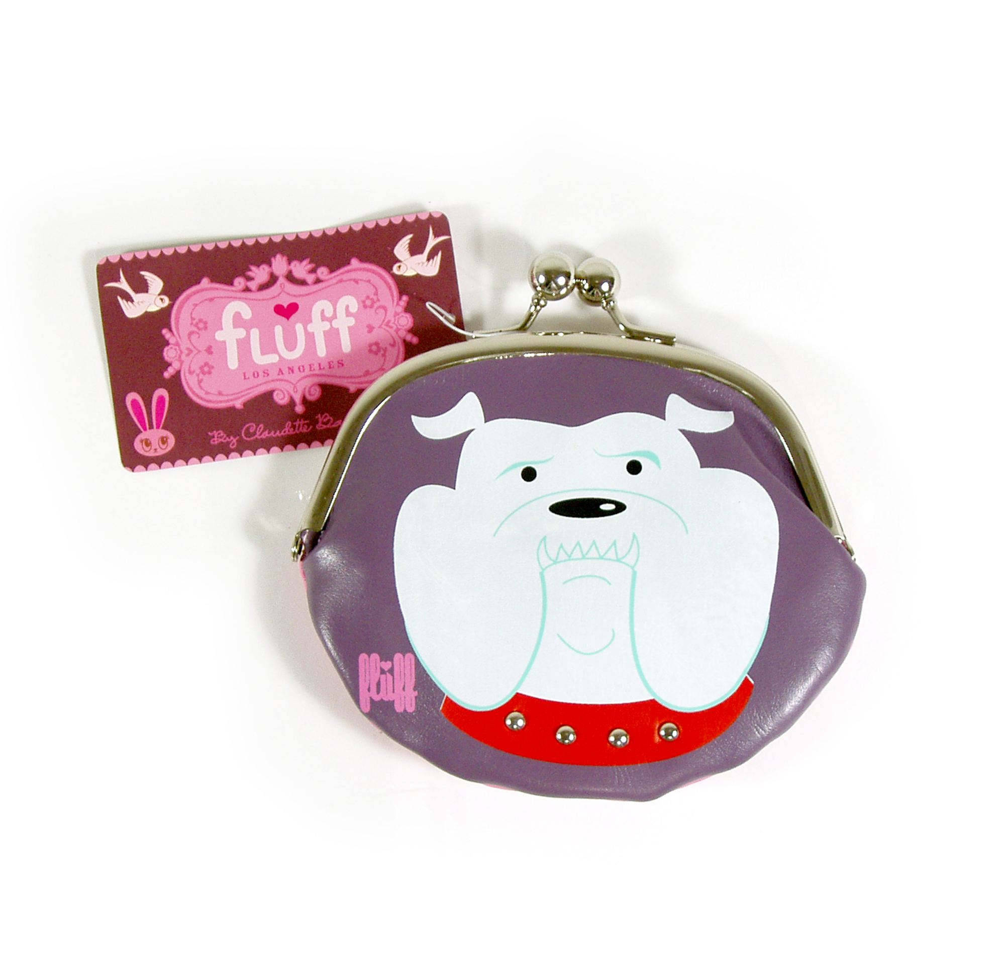 70e3cd3c927 Woof Bulldog Large Coin Purse By Fluff Pink Cat