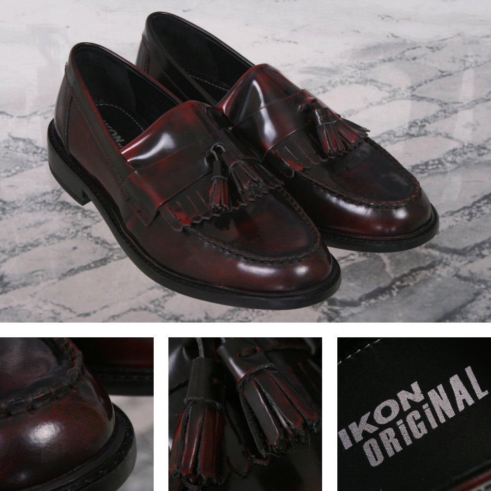 Ikon Originals Selecta Tassel Loafers Mod Skin Retro Shoe Burgundy Ox Blood