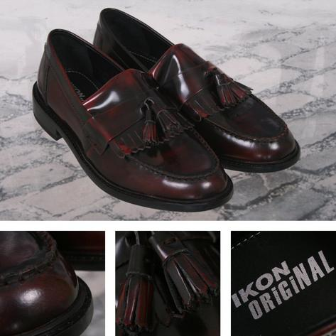 Ikon Originals Selecta Tassel Loafers Mod Skin Retro Shoe Burgundy Ox Blood Thumbnail 1