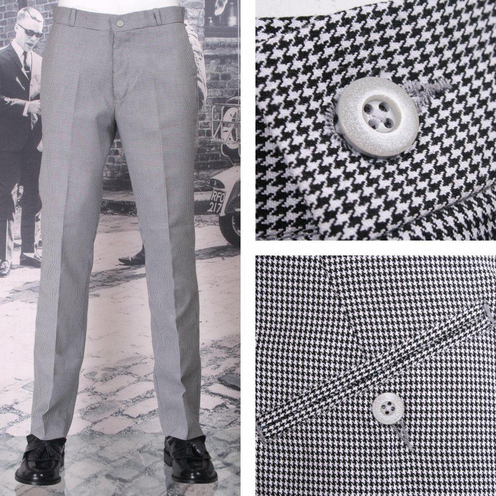 NEW Relco Mod Retro Sta Press Trousers Dogtooth
