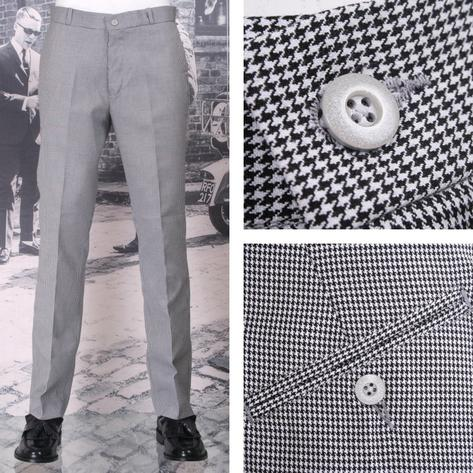 NEW Relco Mod Retro Sta Press Trousers Dogtooth Thumbnail 1