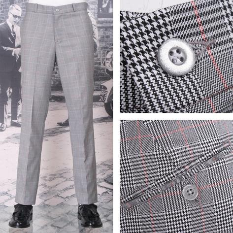 NEW Relco Mod Sta Press Trousers Prince Wales Check Thumbnail 1