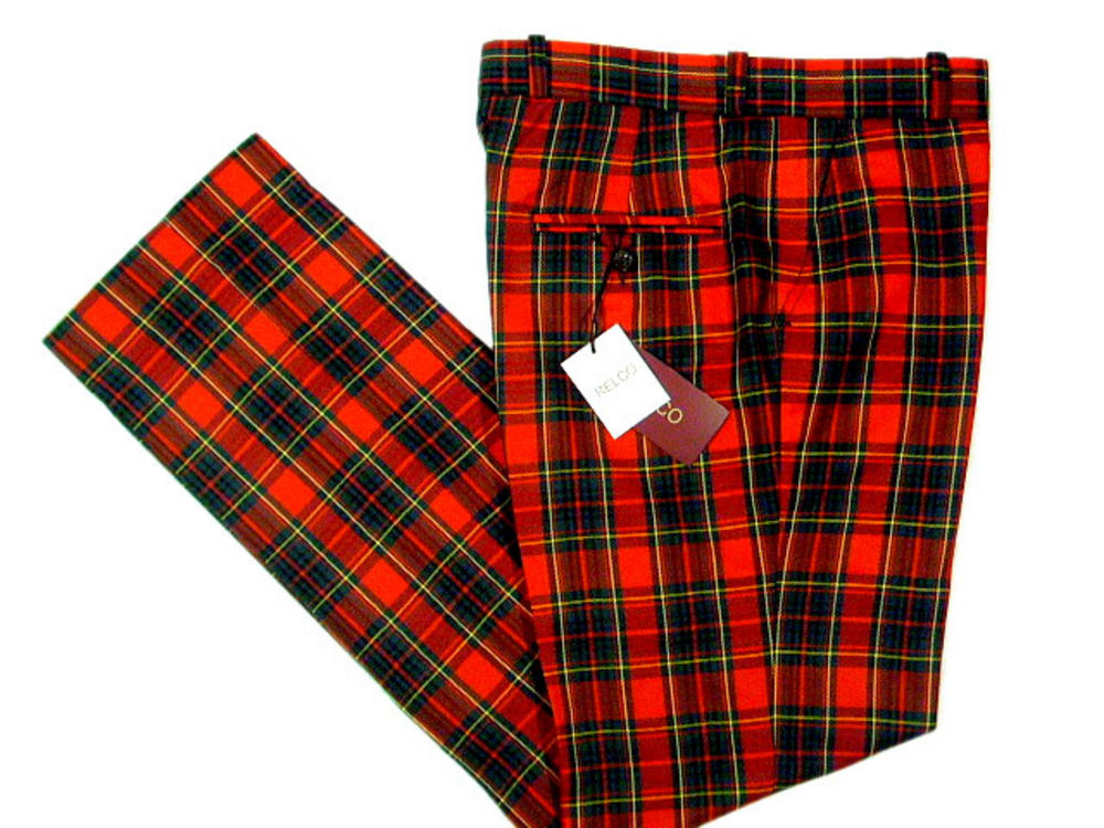 NEW Relco Mod Retro Sta Press Trousers Red Tartan