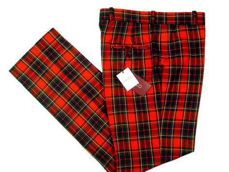 NEW Relco Mod Retro Sta Press Trousers Red Tartan Thumbnail 1
