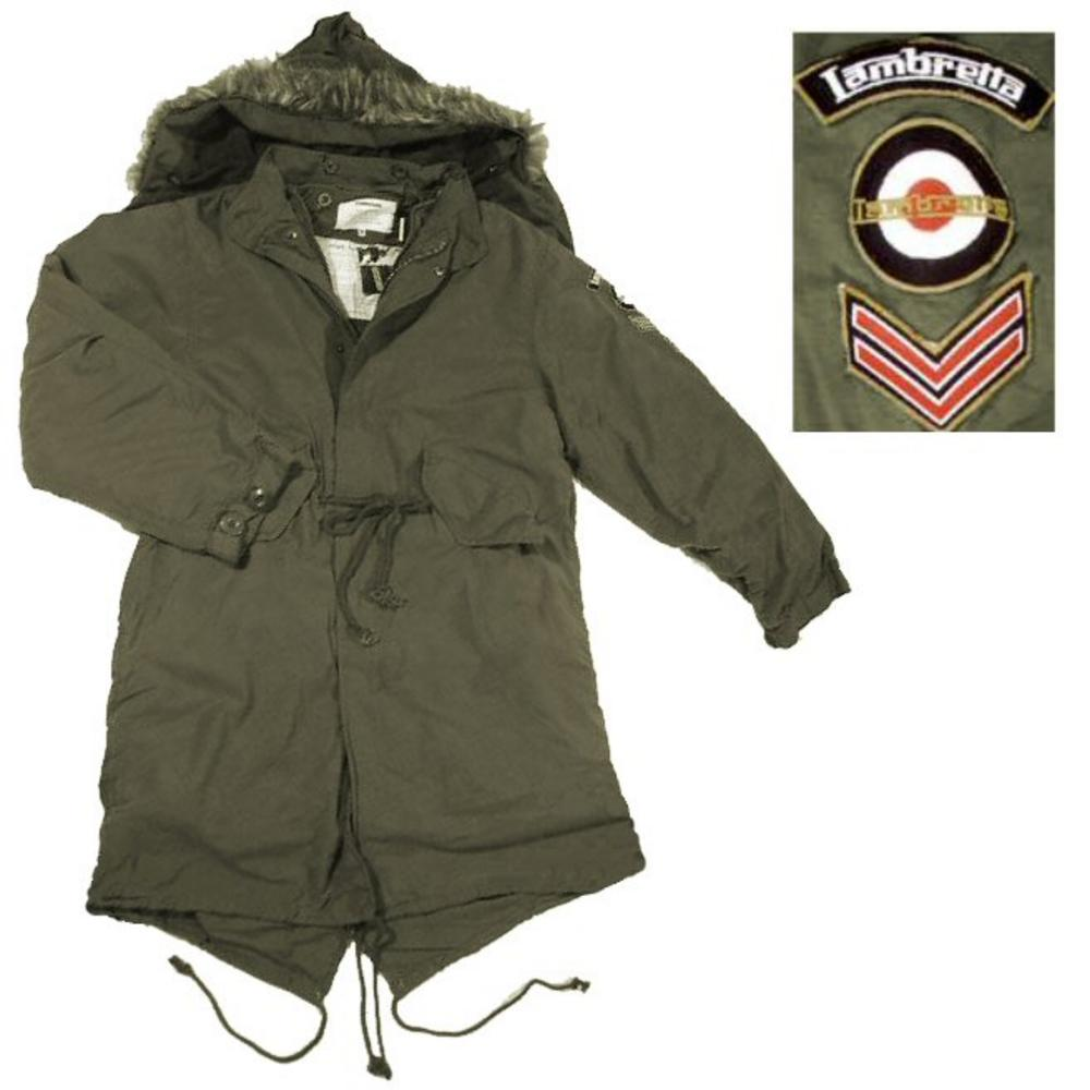 Lambretta Mod Retro Military Style Fishtail Parka Coat Khaki Green