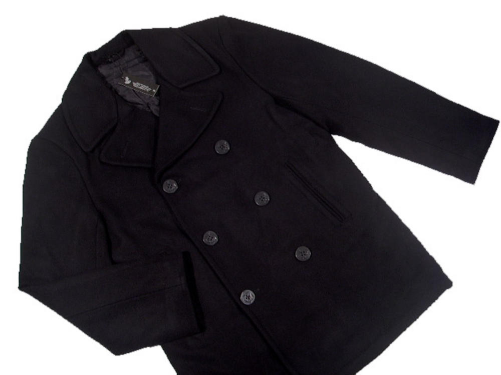 c516504be New Classic Warm Wool Pea Coat Reefer Jacket Navy Blue