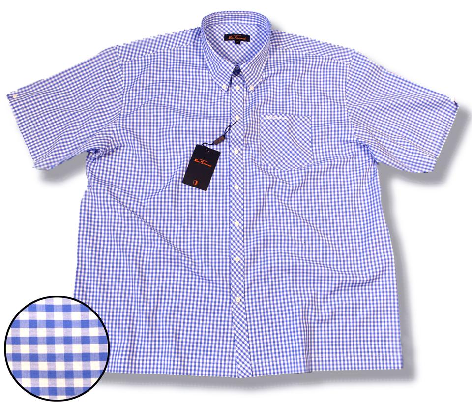 Ben Sherman Mod Gingham Check Shirt Sky Blue Plus Size