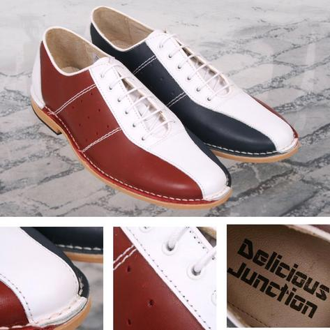 Delicious Junction Watts Mod Retro Dancing Bowling Shoe Red White Blue Thumbnail 1