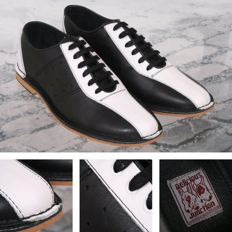 Delicious Junction Watts Mod Retro Dancing Bowling Shoe Black & White Thumbnail 1