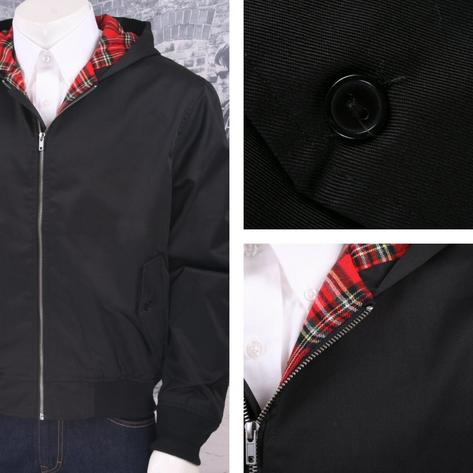 Brandit Mod Skin Retro 60's Tartan Lined Hooded Harrington Jacket Black Thumbnail 1