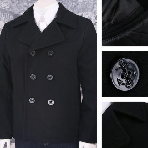 Brandit Classic Wool Mix Naval Military Anchor Buttons Pea Coat Black Thumbnail 1