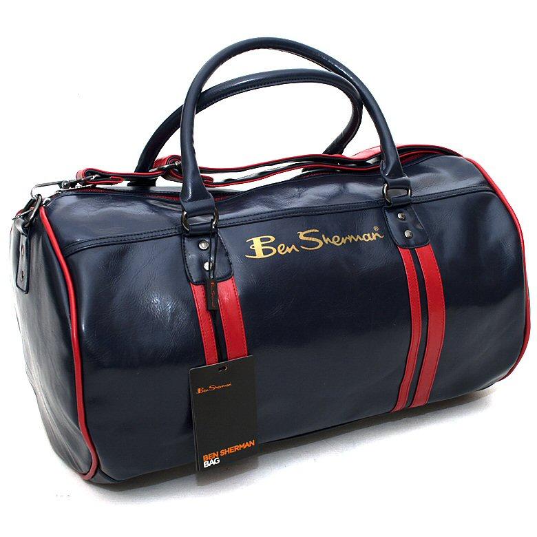 74163e4fbade Classic Ben Sherman Mod Retro Iconic Barrel Sports Bag Navy Thumbnail 1