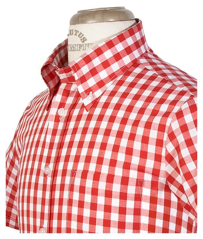 Brutus trimfit mod skin retro large gingham check shirt for Pink checkered dress shirt