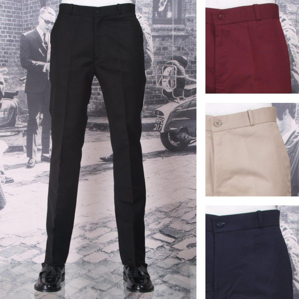 New Relco Mod Retro Sta Press Trousers Navy / Burgundy / Black / Khaki