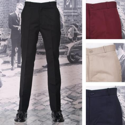 New Relco Mod Retro Sta Press Trousers Navy / Burgundy / Black / Khaki Thumbnail 1
