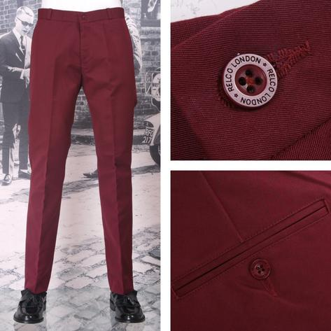 New Relco Mod Retro Sta Press Trousers Navy / Burgundy / Black / Khaki Thumbnail 3