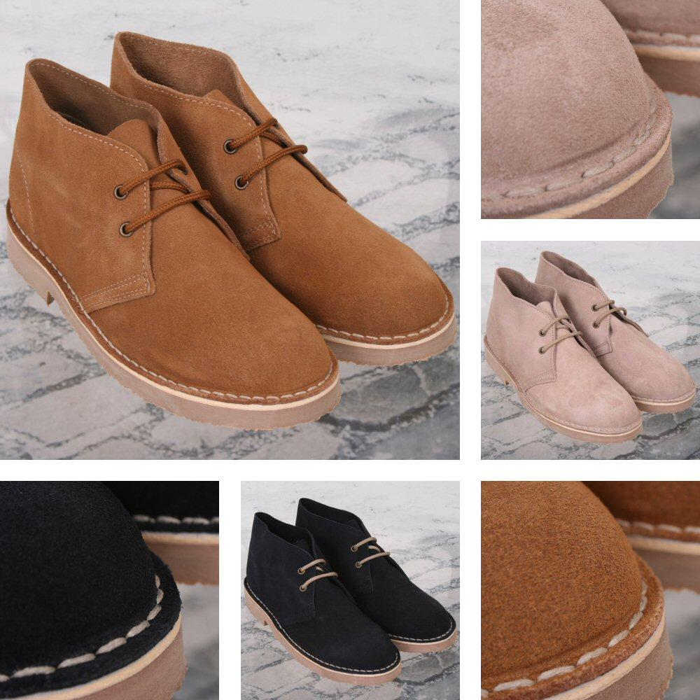New Roamers Mod Suede 2 Hole Rubber Sole Desert Boots