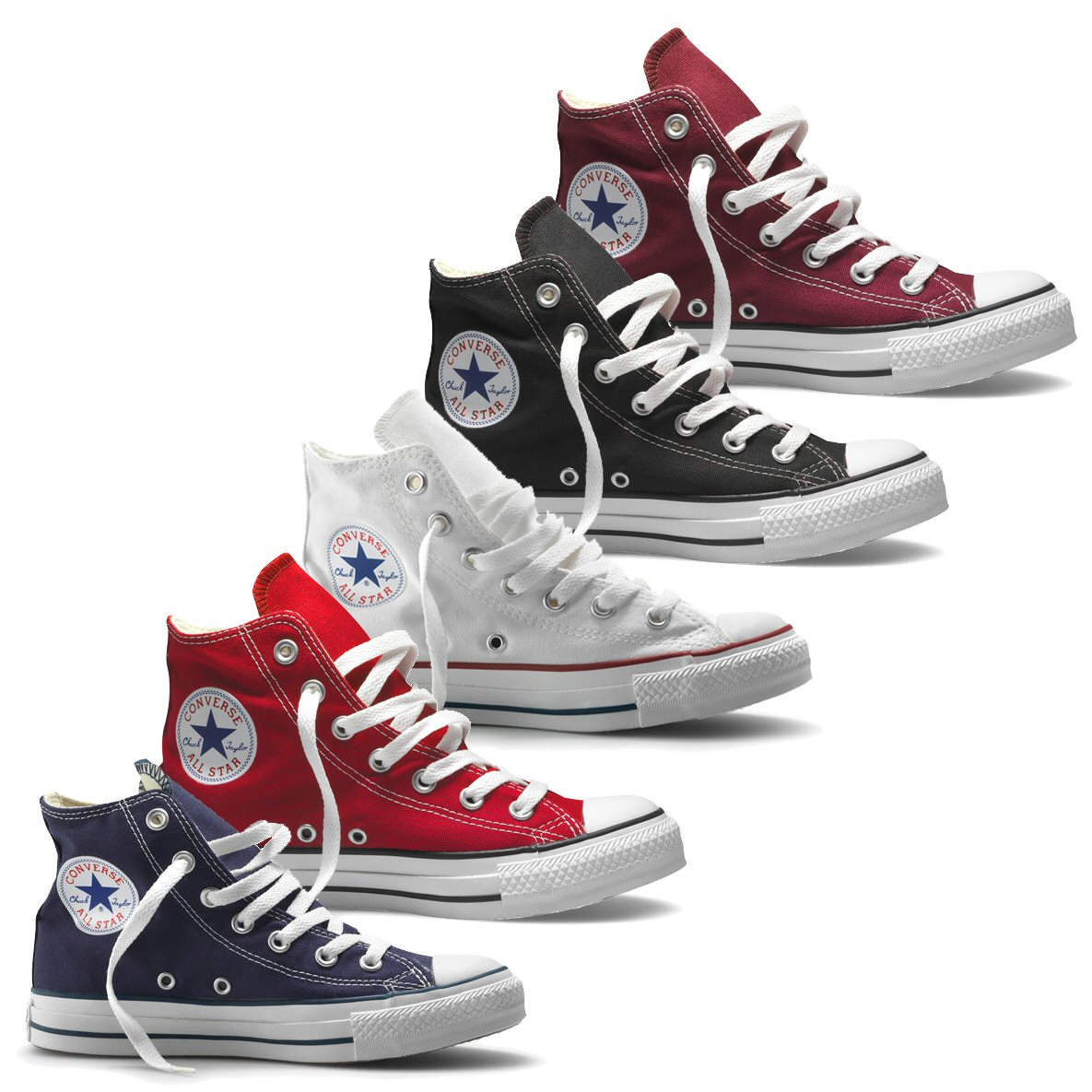 converse chuck taylor all star hi top canvas trainer boot maroon navy white red adaptor clothing. Black Bedroom Furniture Sets. Home Design Ideas
