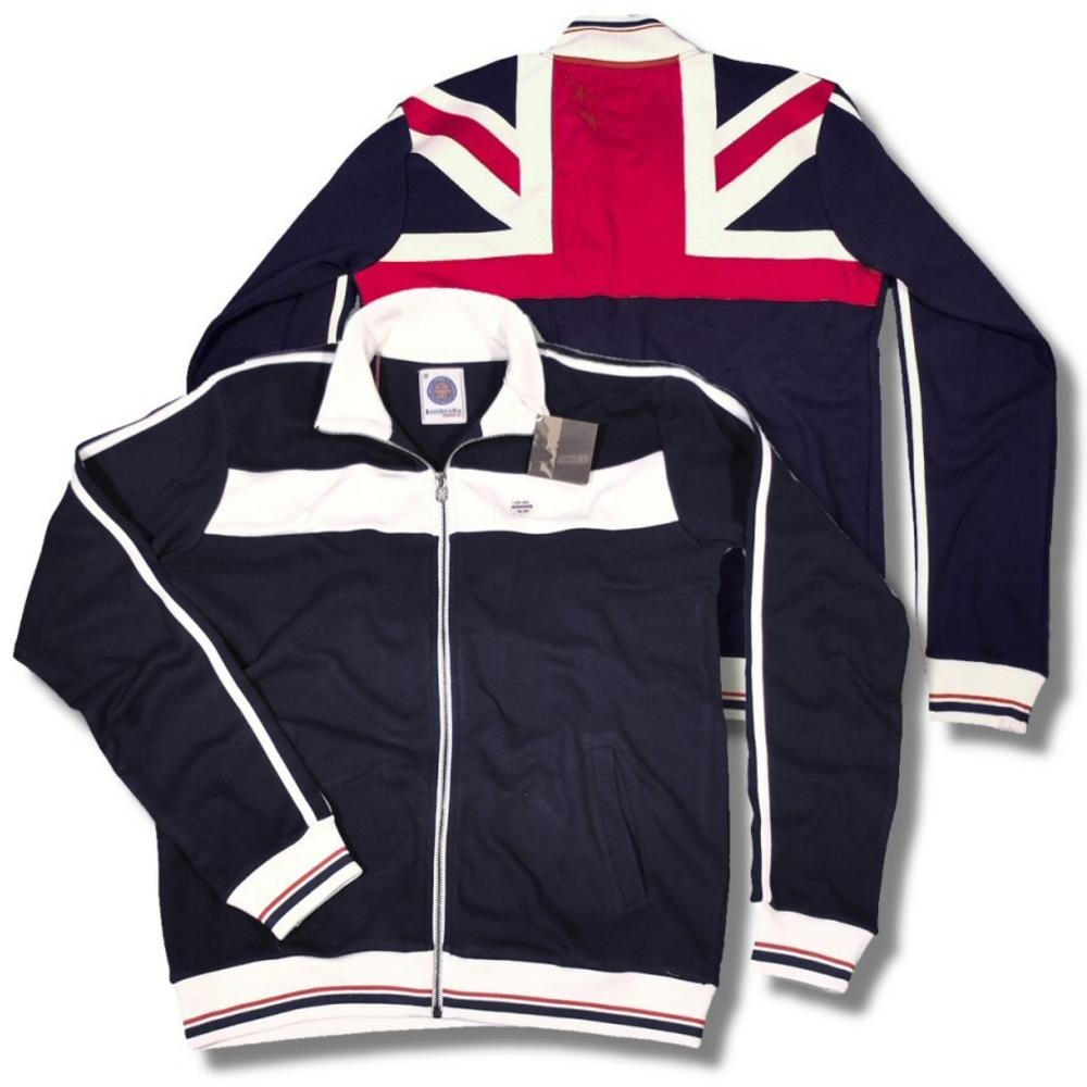 9e8cf9067502 Lambretta Union Jack Flag Back Track Top Sweatshirt NAVY   Ecru ...