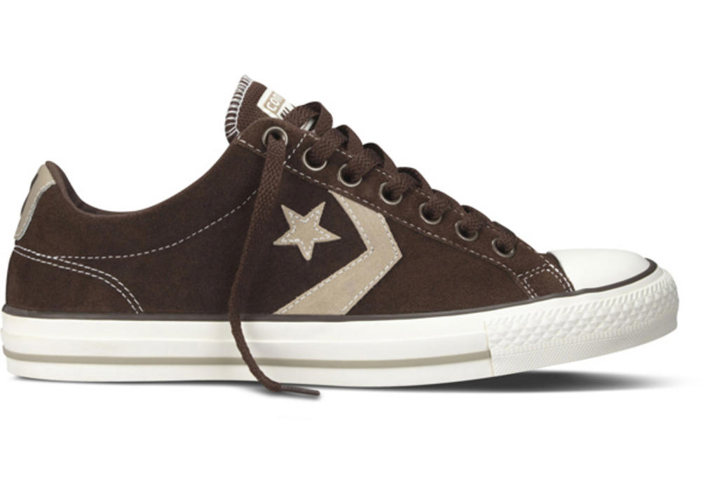 f1bd2ae3c0a9 Converse Star Player Chevron EV Ox Lo Suede Trainer Shoe Chocolate Brown