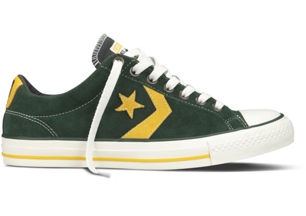 b64119b1cd0  Converse Star Player Chevron EV Ox Lo Suede Trainer Shoe Green   Yellow