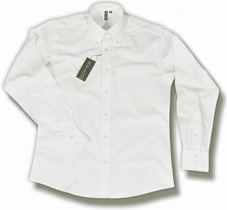 Relco smart mod button down l s cotton oxford shirt white for White button down oxford shirt
