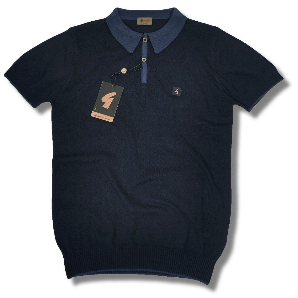 fe017cb90 Gabicci Vintage Mod Retro S S Cotton Knit Polo Shirt Navy L Thumbnail 1