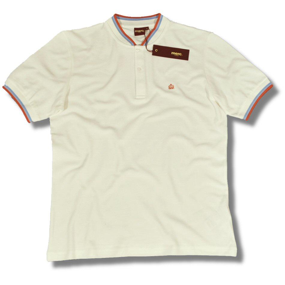 Merc London Retro Mod Collarless Grandad Pique Polo Shirt Off White
