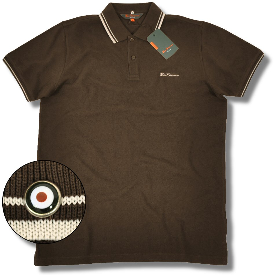 choc brown classic ben sherman mod pique tipped s s polo shirt emerald green choc brown. Black Bedroom Furniture Sets. Home Design Ideas