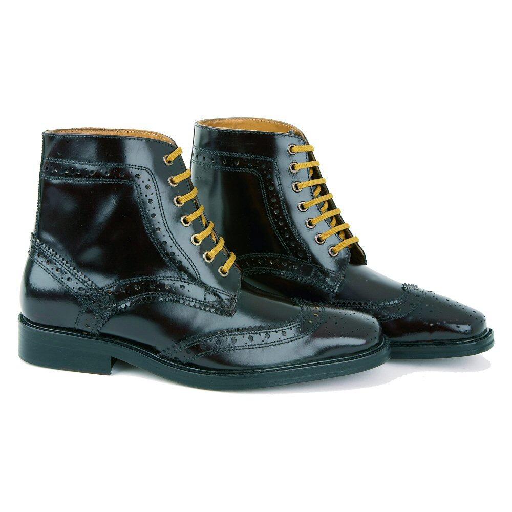 34351ba5adc599 Delicious Junction Landslide Skin Mod Brogue Leather Boot Black Thumbnail  ...